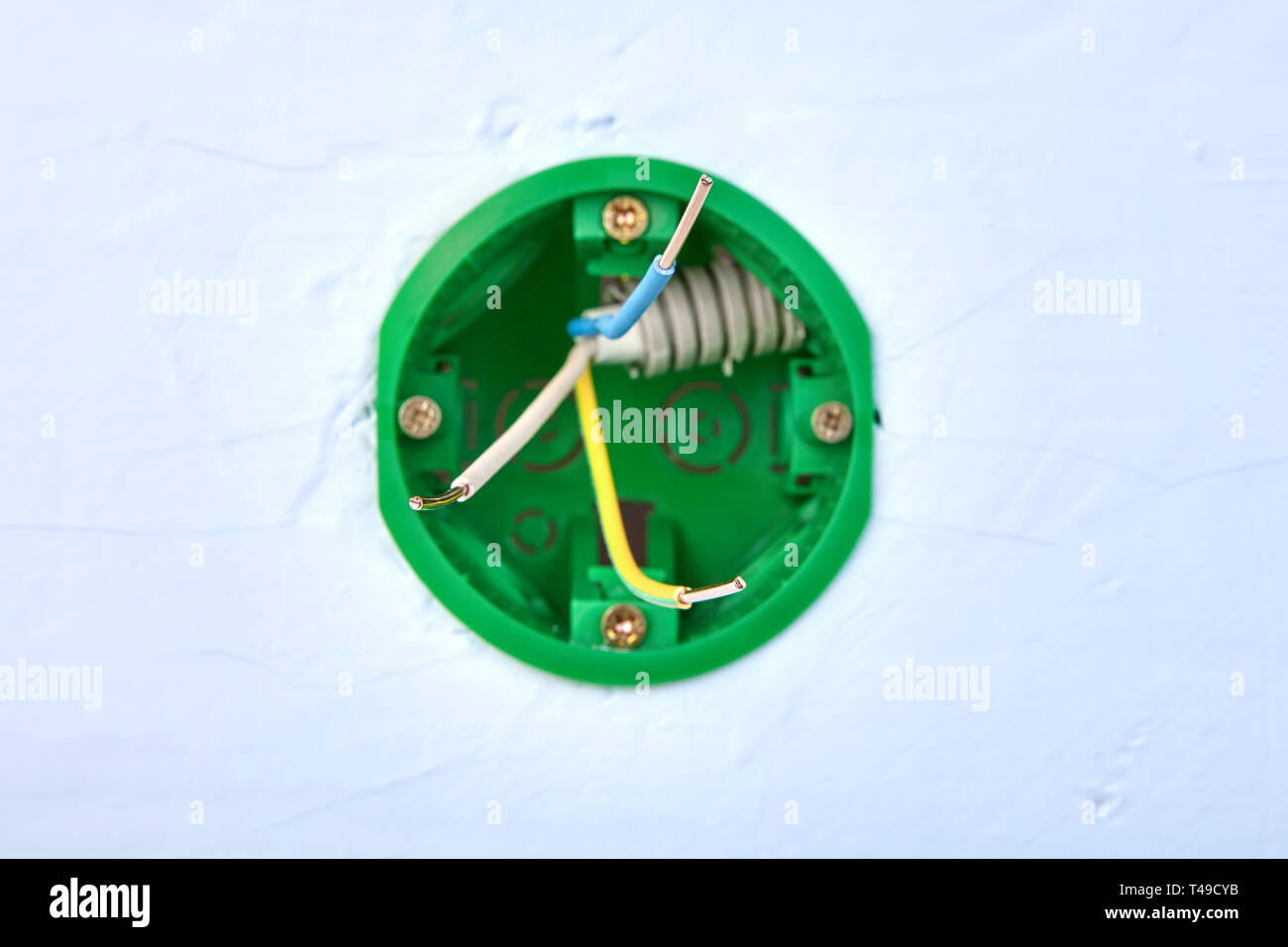 Round Electrical Box For Wall Light Switch With Copper Wires Inside Electric Installation Work Stock Photo Alamy