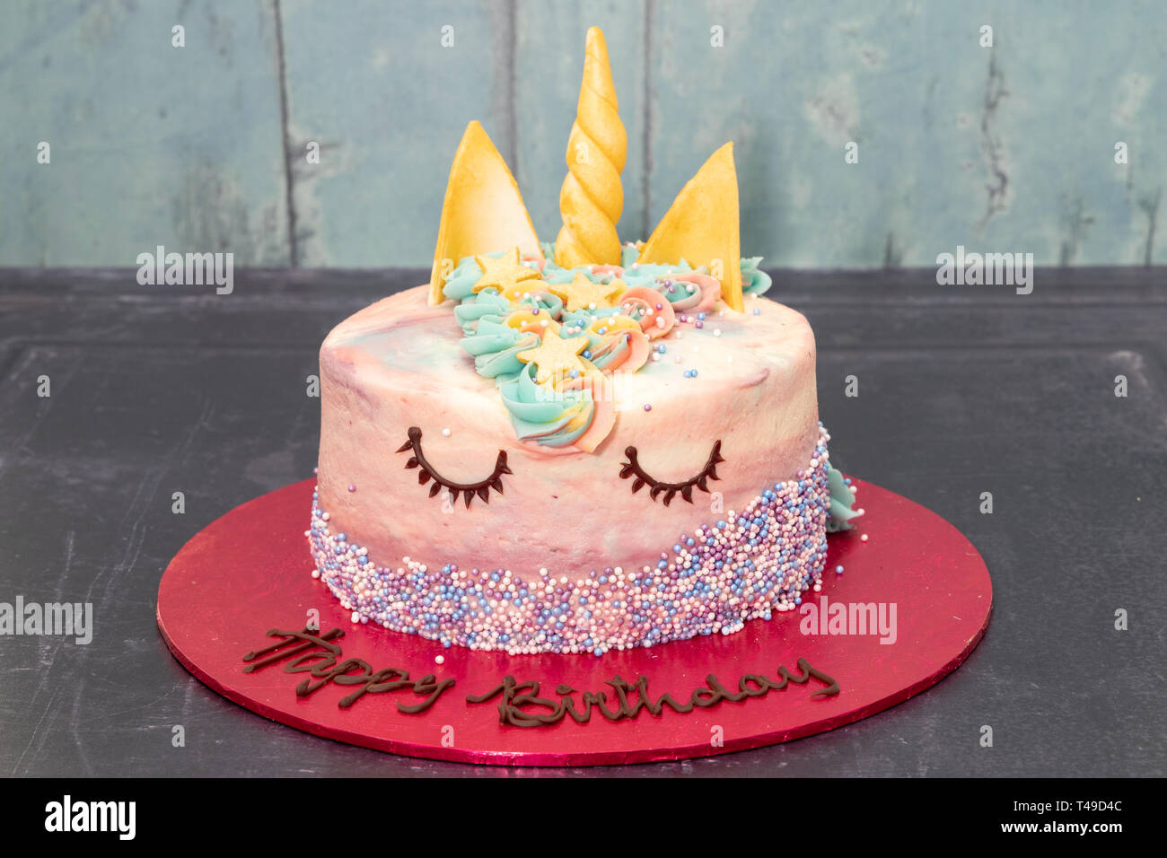 Remarkable Childrens Party Unicorn Birthday Cake Stock Photo 243611660 Alamy Personalised Birthday Cards Cominlily Jamesorg