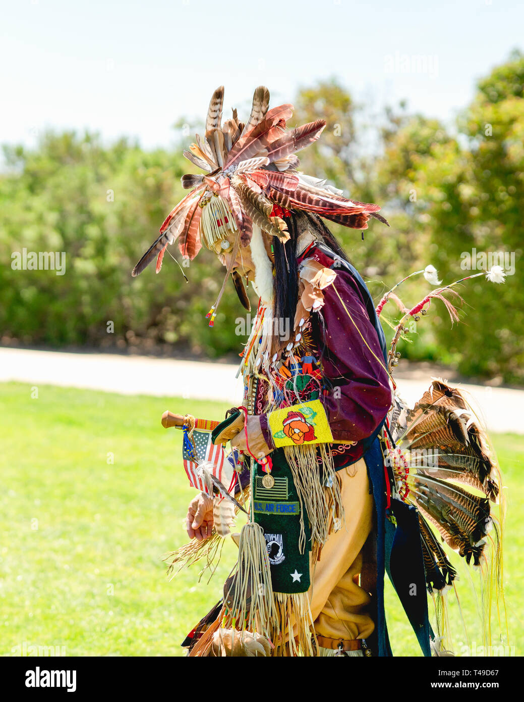 Mature man in full Native American regalia. 2019 21st Annual Chumash Day Powwow and Intertribal Gathering, Malibu, California, April 13, 2019 - Stock Image