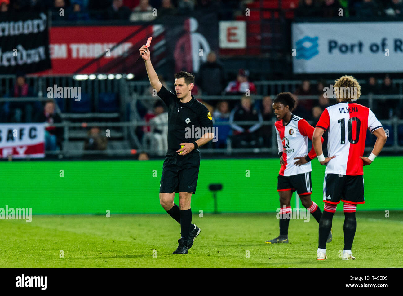 13th of april 2019 Rotterdam, The Netherlands Soccer Dutch Eredivisie Feyenoord v Heracles Almelo  Red card Feyenoord player Nicolai Jorgensen - Stock Image
