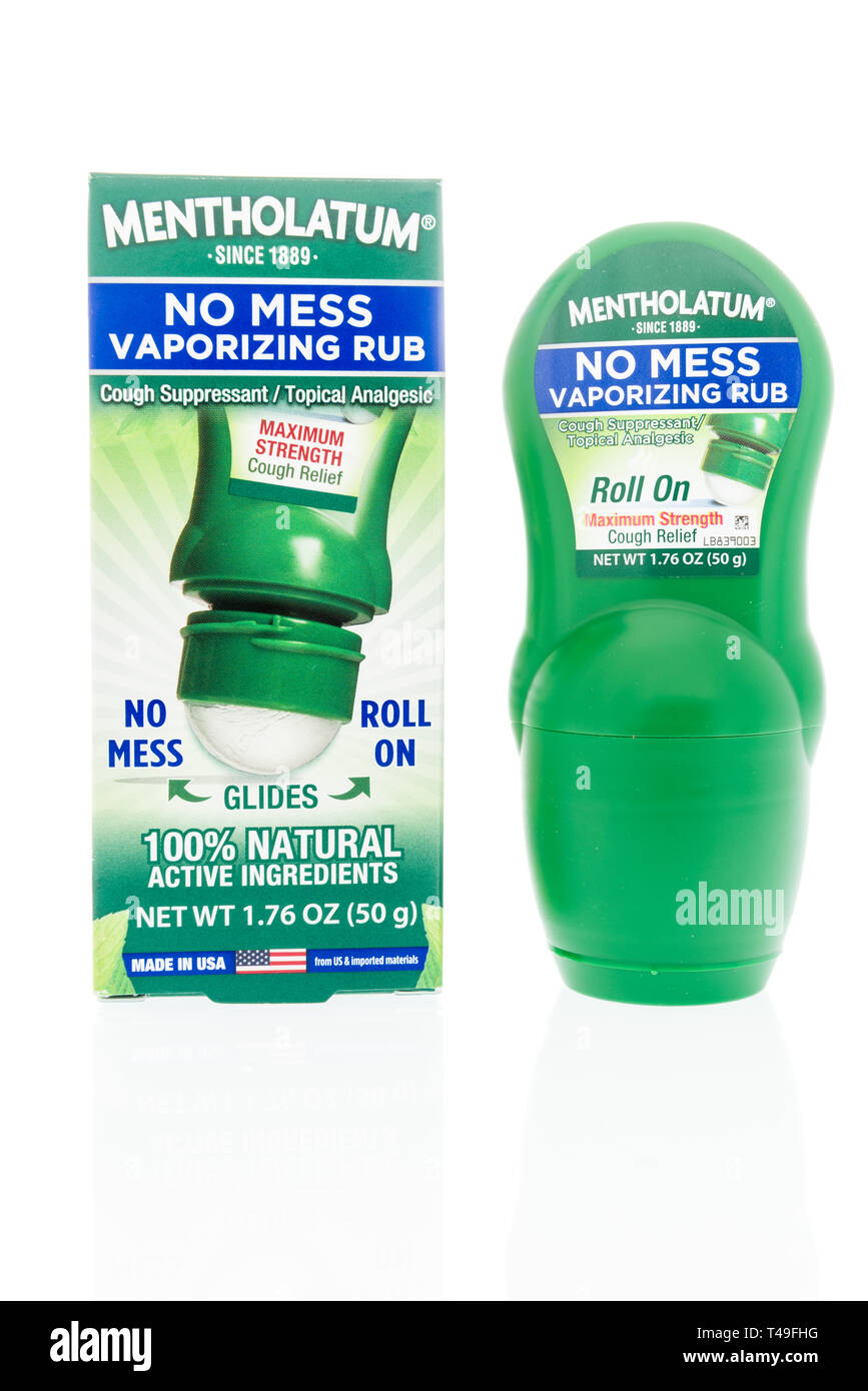Winneconne, WI -  14 April 2019: A package of Mentholatum no mess vaporizing rub on an isolated background - Stock Image