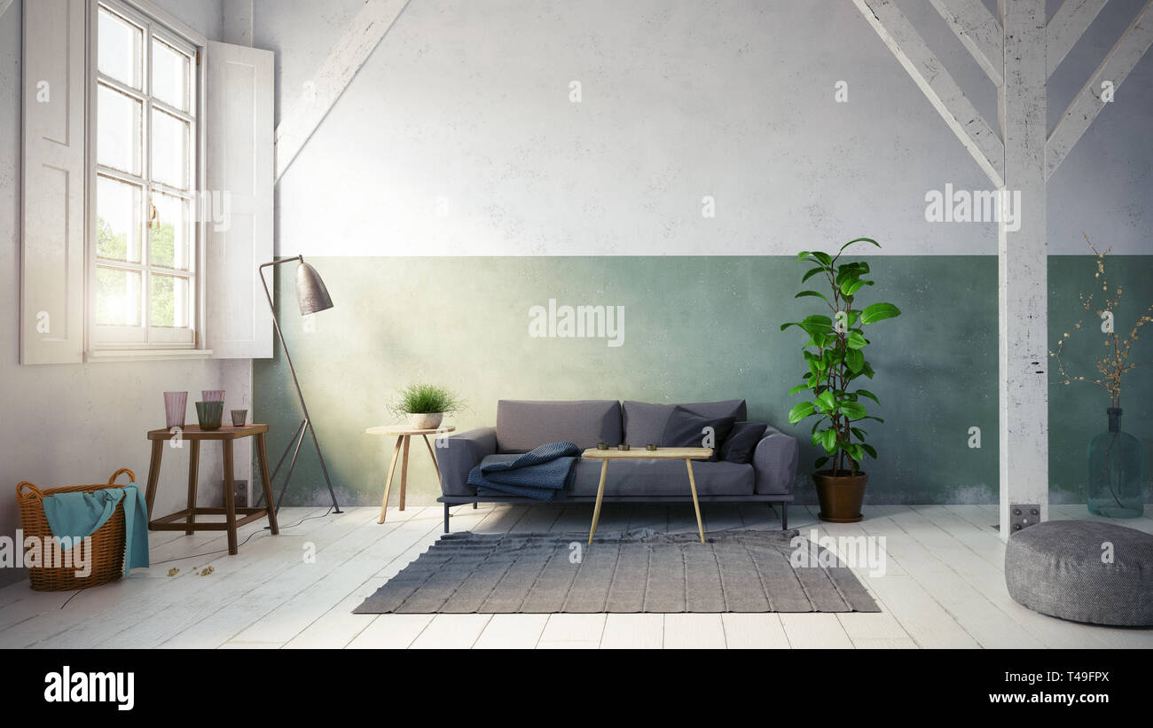 Country Style Living Room Interior 3d Rendering Design