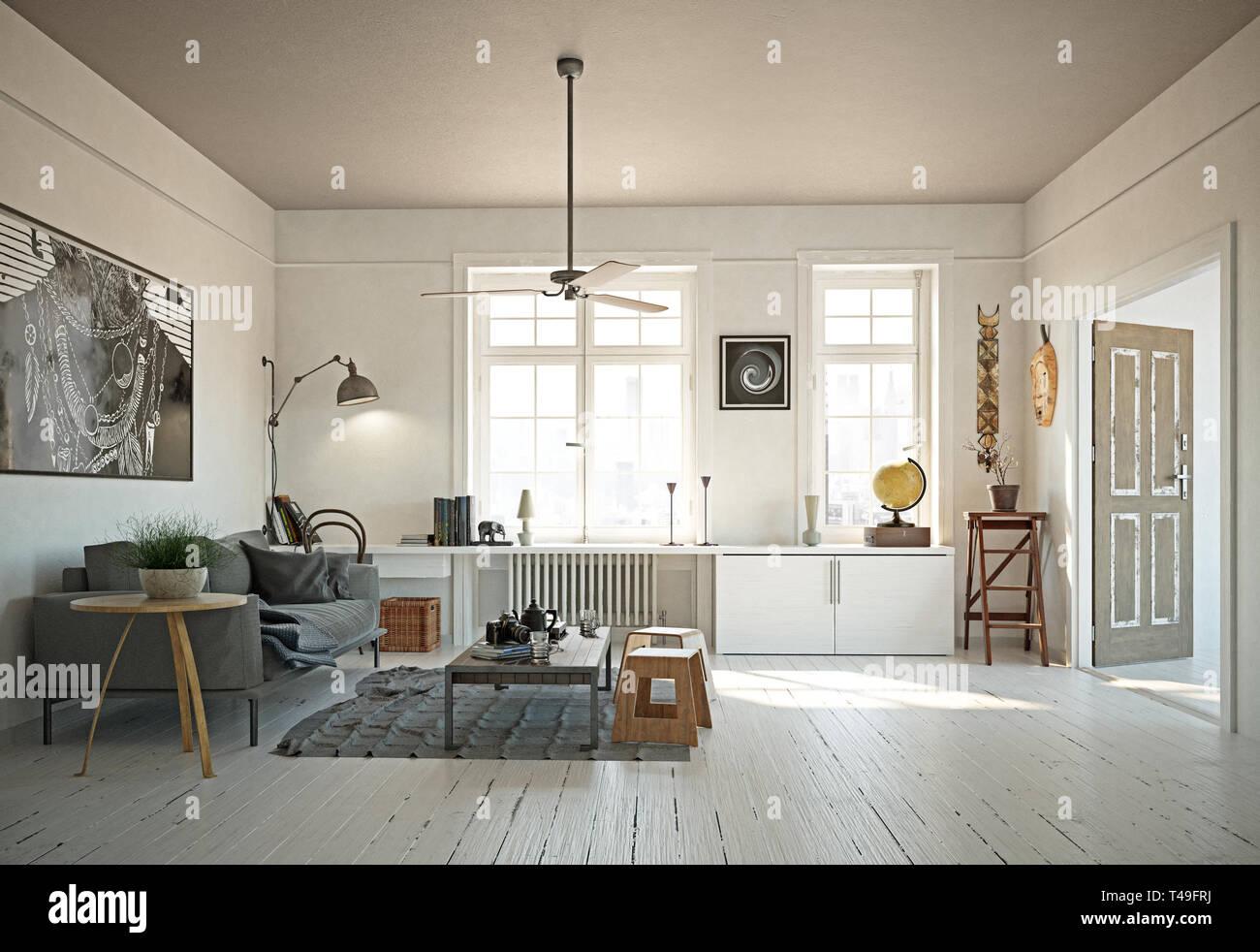 Modern Scandinavian Style Living Room Interior Design 3d Illustration Concept Stock Photo Alamy