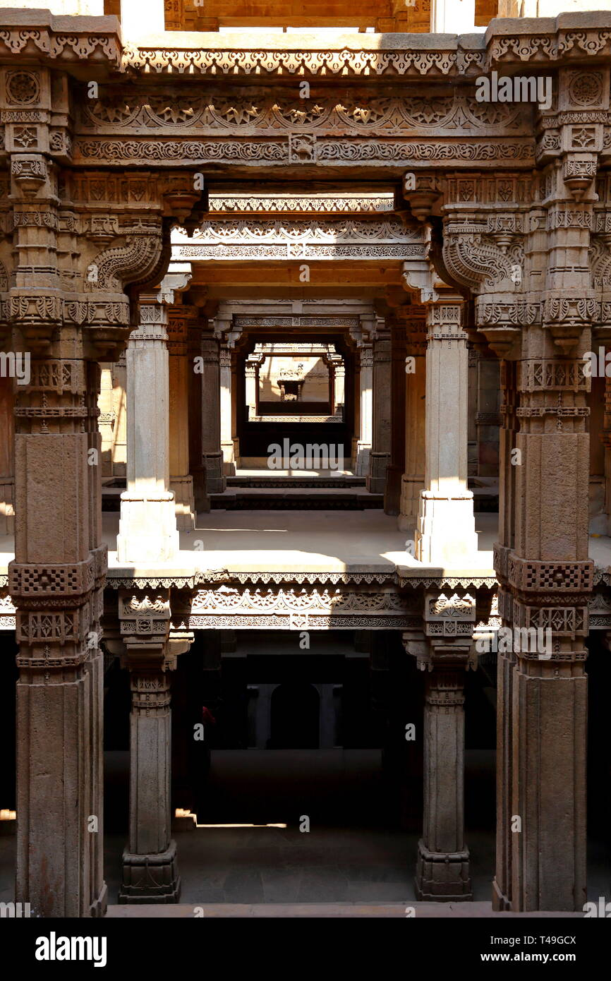 Adalaj Stepwell is a Hindu building in the village of Adalaj near Ahmedabad in the Indian state of Gujarat. - Stock Image