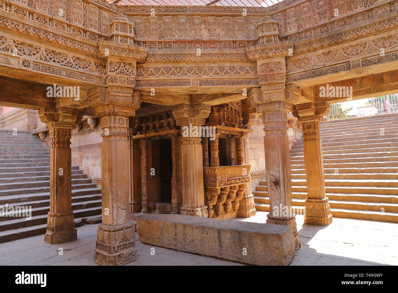 Adalaj Stepwell is a Hindu building in the village of Adalaj near Ahmedabad in the Indian state of Gujarat. Stock Photo