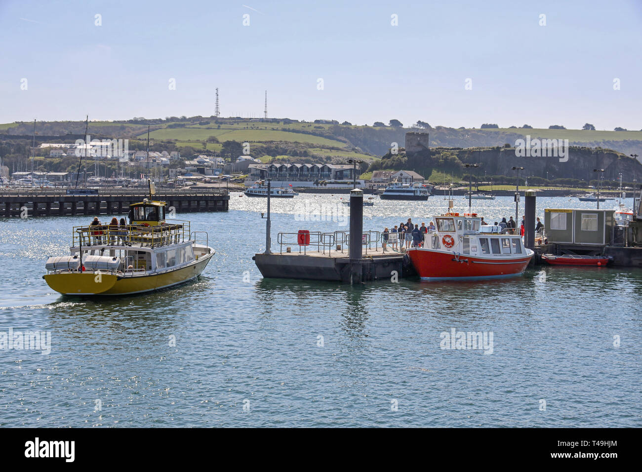 Mount Batten and Cawsand Passenger ferries at landing stage Plymouth Barbican Stock Photo