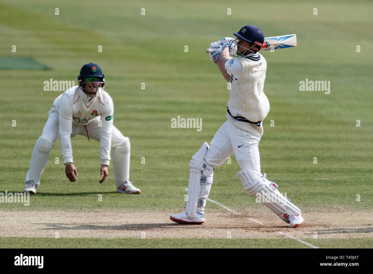London, UK. 14th Apr, 2019. John Simpson of Middlesex (right) during Specsavers County Championship match between Middlesex vs Lancashire at The Lord's Cricket Ground on Sunday, April 14, 2019 in  London England. (Editorial use only, license required for commercial use. No use in betting, games or a single club/league/player publications.) Credit: Taka G Wu/Alamy Live News Stock Photo