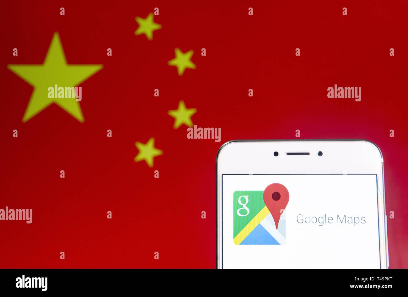 Hong Kong Map Service Hong Kong. 6th Apr, 2019. In this photo illustration a Web mapping
