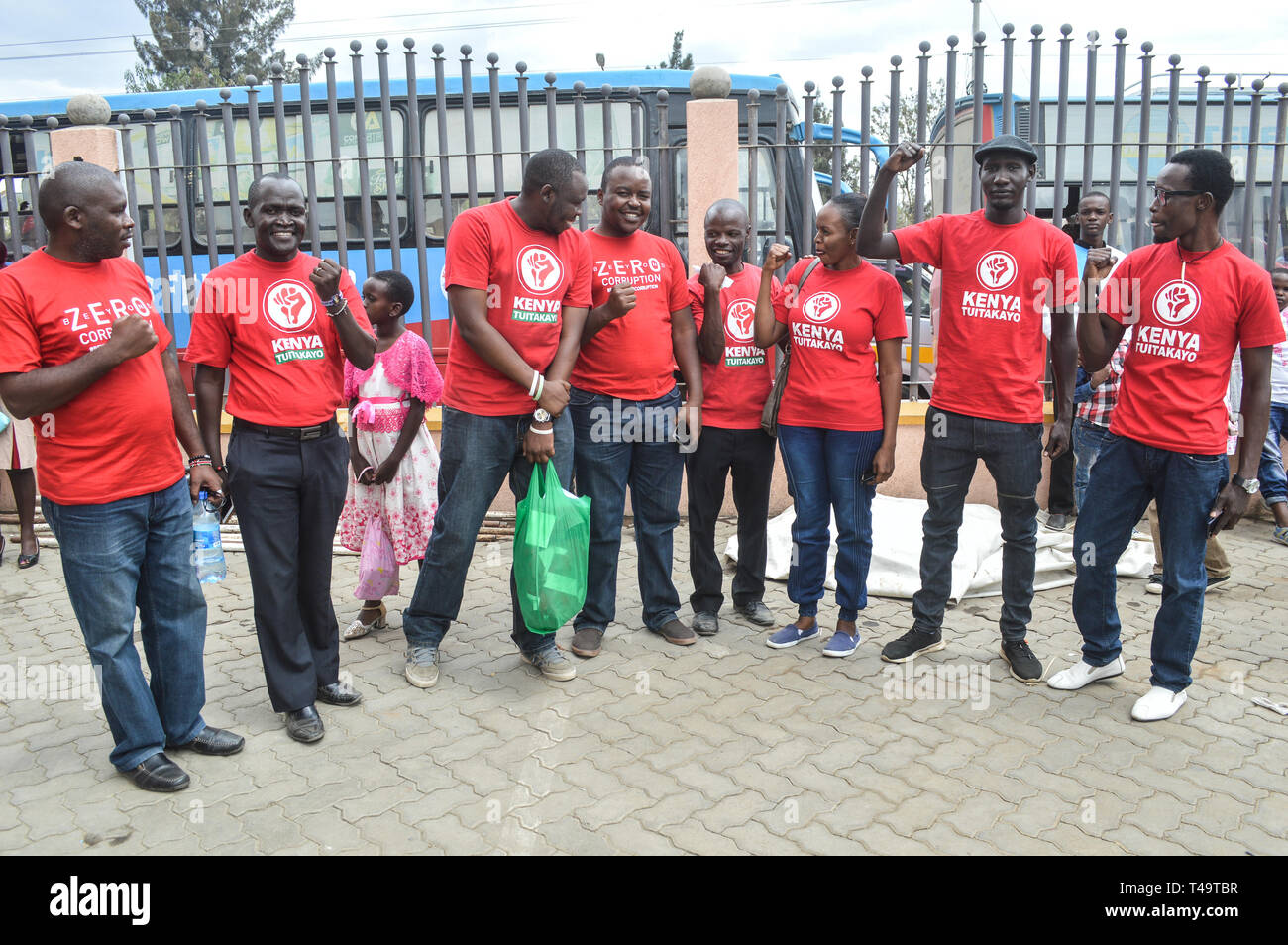 A group of activists allied to Kenya's Red Vests Movement are seen