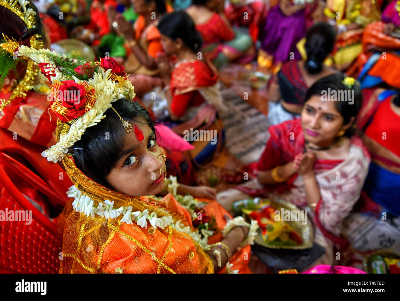 Kolkata, WEST BENGAL, India  14th Apr, 2019  Young girls are