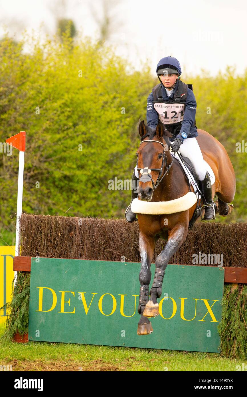 Norfolk, UK. 14th Apr 2019. Winner. Lizzie Baugh riding Quarryman. GBR. CCI3*. Section A1. Barefoot Retreats Burnham Market International Horse Trials. Eventing. Burnham Market. Norfolk. United Kingdom. GBR. {14}/{04}/{2019}. Credit: Sport In Pictures/Alamy Live News Stock Photo