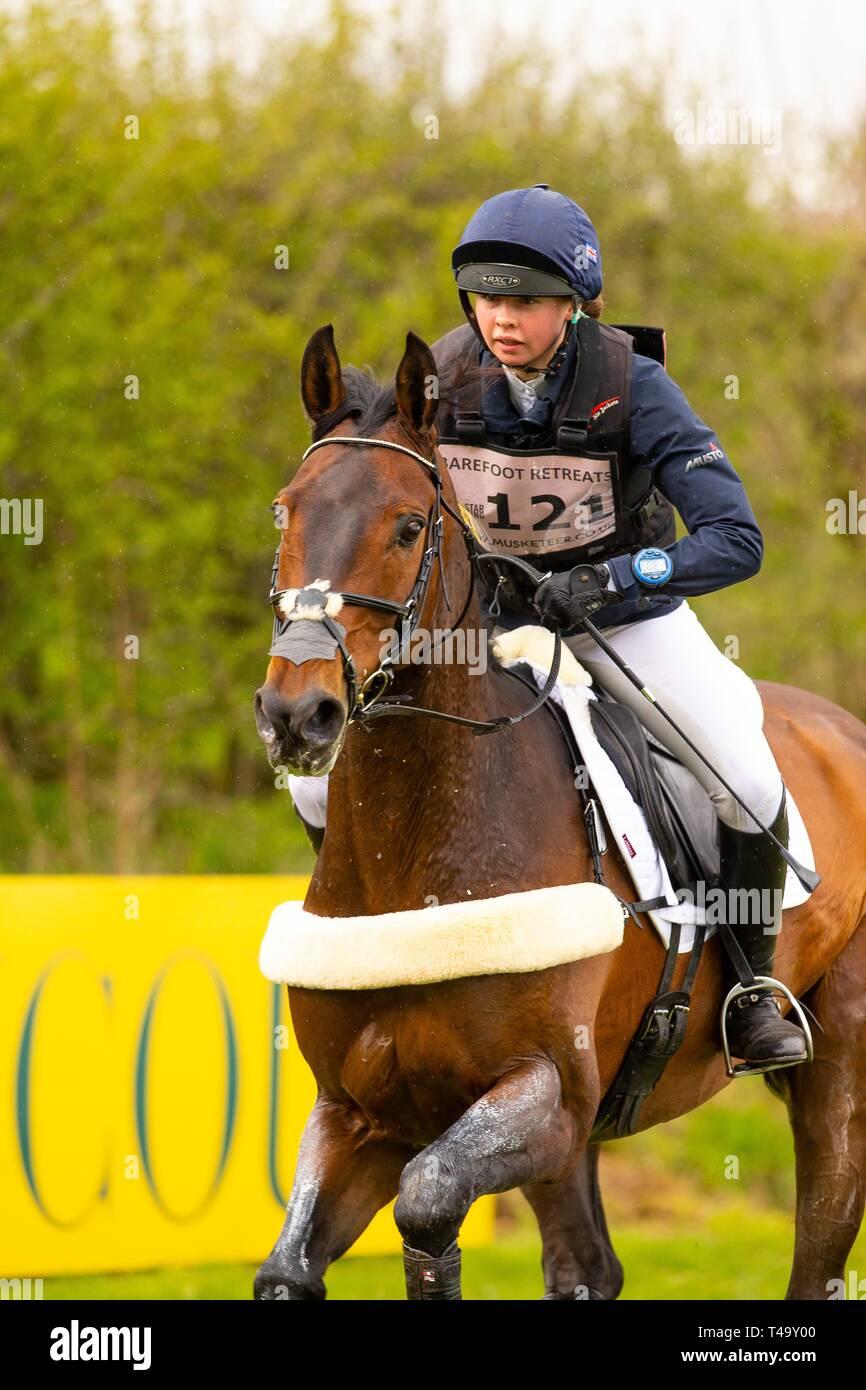 Norfolk, UK. 14th Apr 2019. Winner. Lizzie Baugh riding Quarryman. GBR. CCI3*. Section A1. Barefoot Retreats Burnham Market International Horse Trials. Eventing. Burnham Market. Norfolk. United Kingdom. GBR. {14}/{04}/{2019}. Credit: Sport In Pictures/Alamy Live News - Stock Image