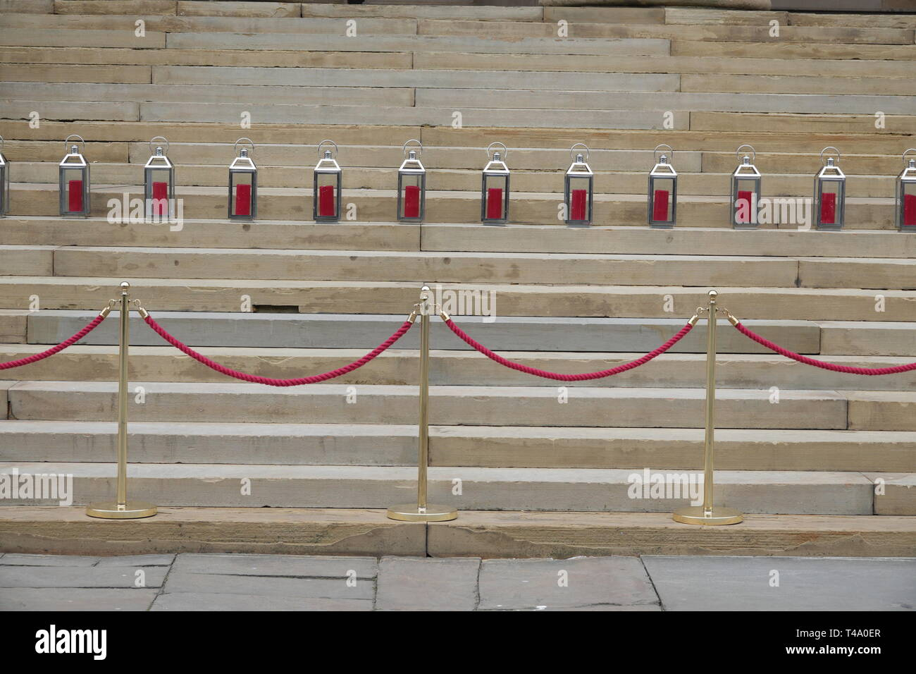 Liverpool, UK. 15th Apr, 2019. 96 candles on the steps of St George's Hall to mark the 30th anniversary of the Hillsborough disaster in which 96 Liverpool supporters lost their lives. Credit: ken biggs/Alamy Live News - Stock Image
