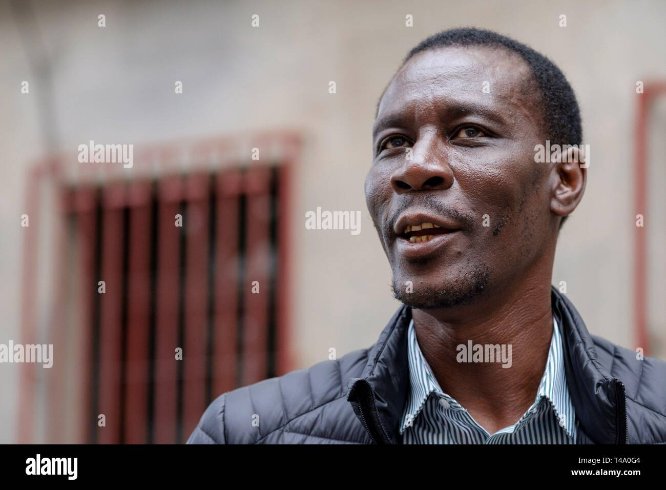 PSOE's number two in Las Palmas list for the Lower Chamber in Madrid, Luc Andre Diouf, is seen in Las Palmas in Gran Canaria, Canary Islands, Madrid, 15 April 2019. Luc Andre Diouf, PSOE's federal secretary for Refugee Policy, was born in Senegal in 1965 and arrived illegally to the Canary Islands 27 years ago as an immigrant. Now, Diouf, who speaks up to 6 different languages, is one of the socialist candidates for the Lower House. EFE/ Ángel Medina G. - Stock Image