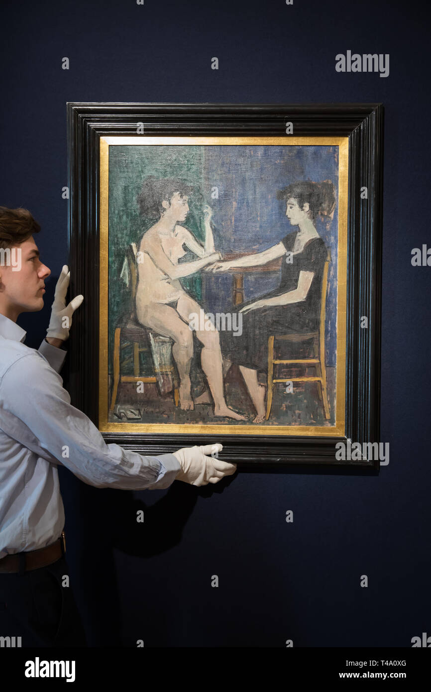 London, UK. 15th Apr, 2019. The photo call for Bonhams Greek Sale took place at Bonhams New Bond Street Saleroom. Leading the sale is Composition, by Yiannis Moralis (1916-2009). It is estimated at £70,000-100,000. The sale takes place on the 17th April at 2pm.Credit: Keith Larby/Alamy Live News Stock Photo