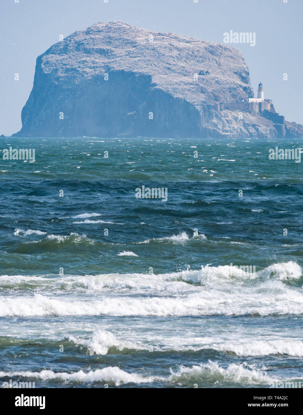 North Berwick, East Lothian, Scotland, United Kingdom, 15th April 2019. UK Weather: a very cold windy day in the seaside town. View from Milsey Bay with the Bass Rock gannet colony, the largest Northern gannet colony, in the distance. The gannets have returned and are beginning to build their nests - Stock Image