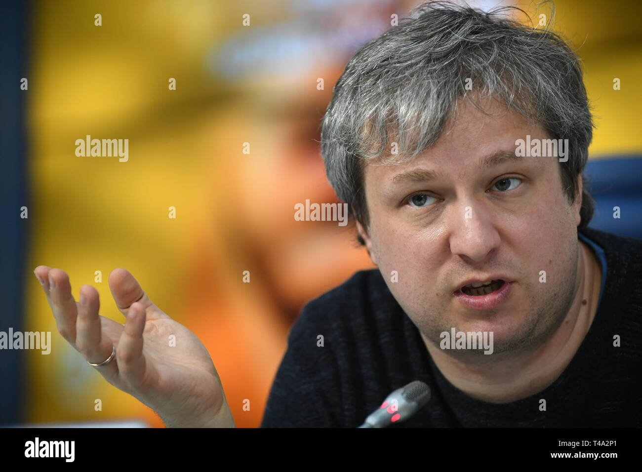 MOSCOW, RUSSIA - APRIL 15, 2019: Cinema critic Anton Dolin, editor-in-chief of the Iskusstvo Kino Magazine, during a press conference on the 2019 French-Israeli drama film Synonyms, winner of the Golden Bear at the 69th Berlin International Film Festival. Maxim Grigoryev/TASS Stock Photo