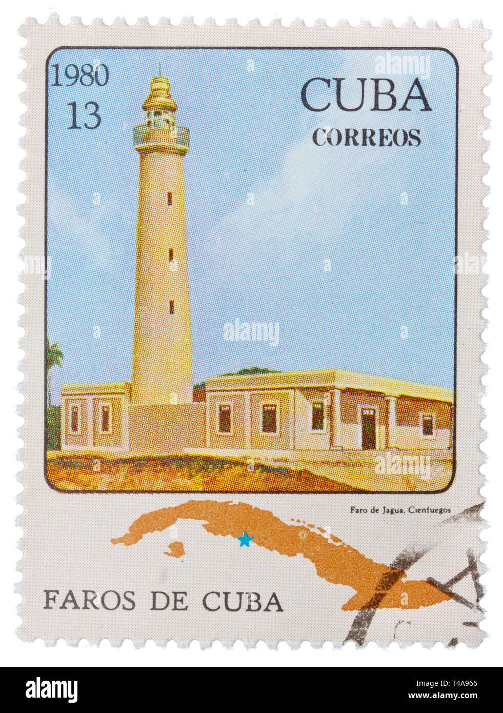 CUBA - CIRCA 1980: Stamp printed in CUBA shows image of Faros de Cuba, Correos, circa 1980 - Stock Image