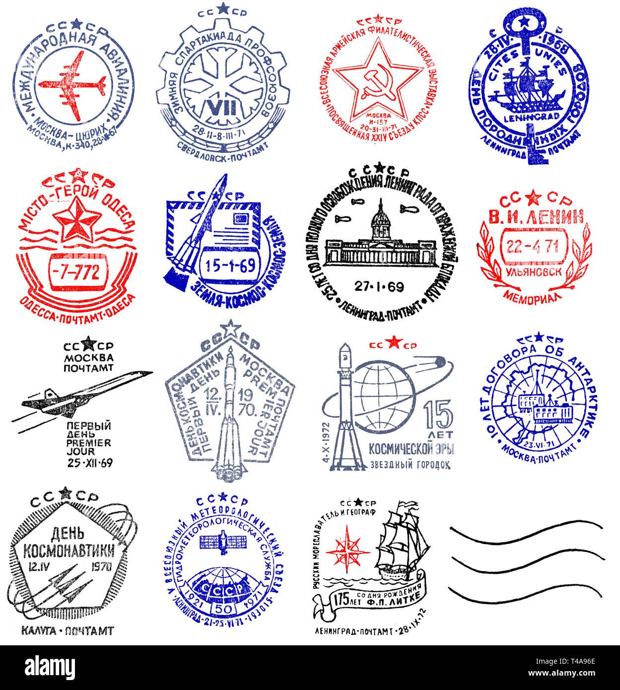 Vintage USSR postage meter stamps collection - Stock Image