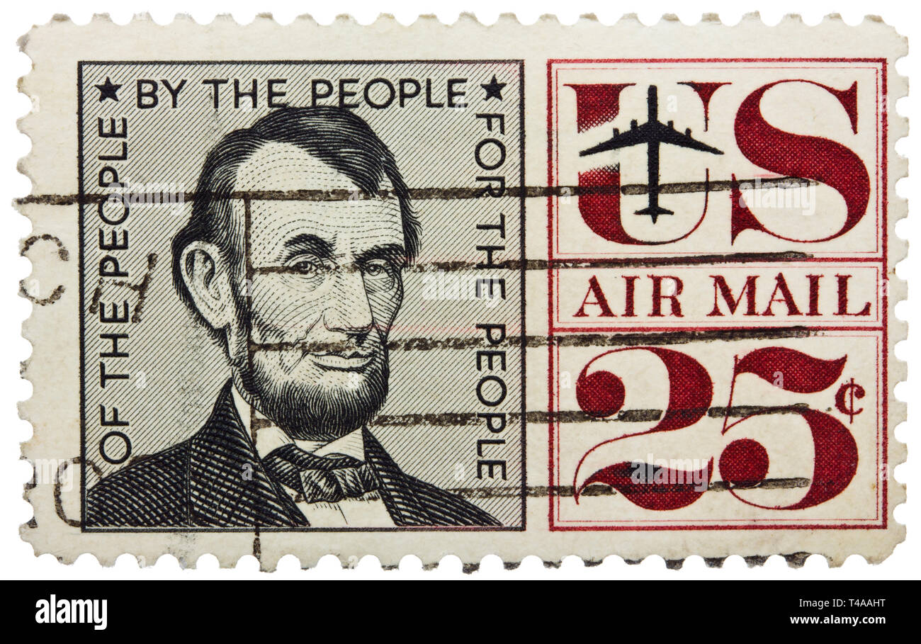 USA - CIRCA 1960: A stamp printed in USA shows portrait of president Abraham Lincoln, circa 1960 Stock Photo
