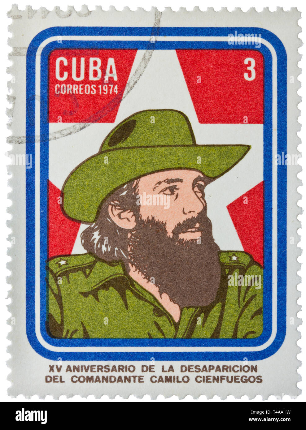 CUBA - CIRCA 1974: A Stamp printed in Cuba shows portrait of Comandante Camilo Cienfuegos, circa 1974 - Stock Image
