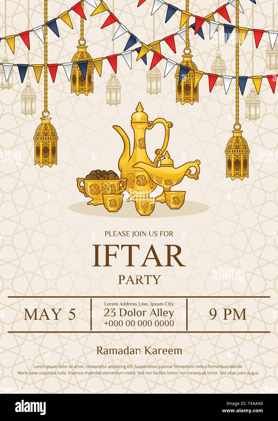 Islamic Iftar Party Invitation Flyer Card Design Oriental