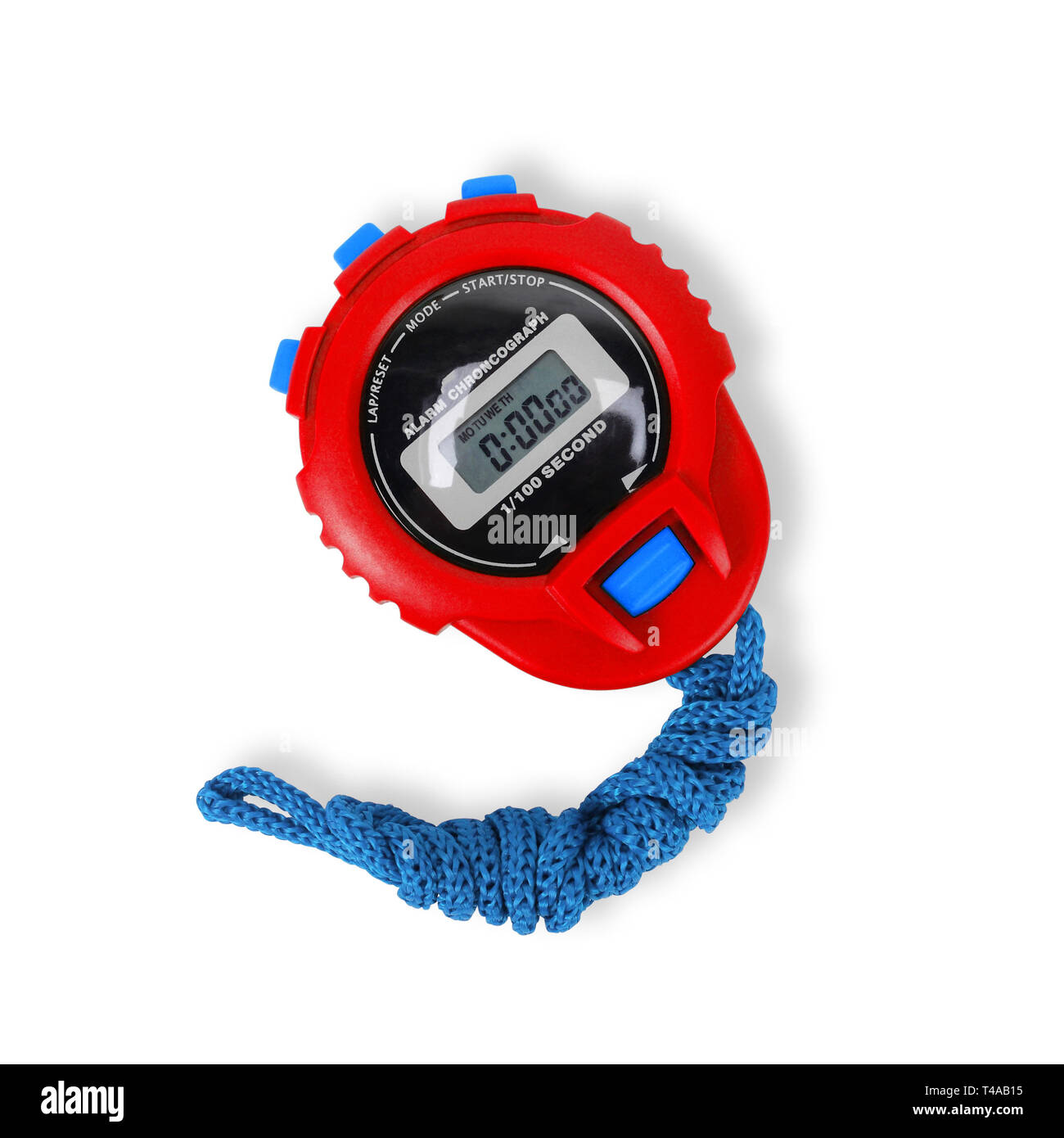 Sports equipment - Red blue Digital electronic Stopwatch on a white background. Isolated - Stock Image