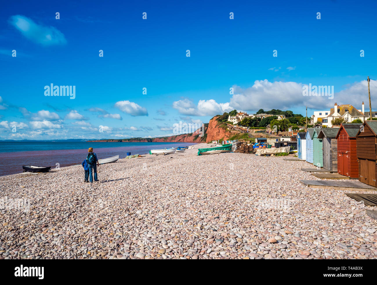 Beach, boats and a  lovely day at Budleigh Salterton. - Stock Image