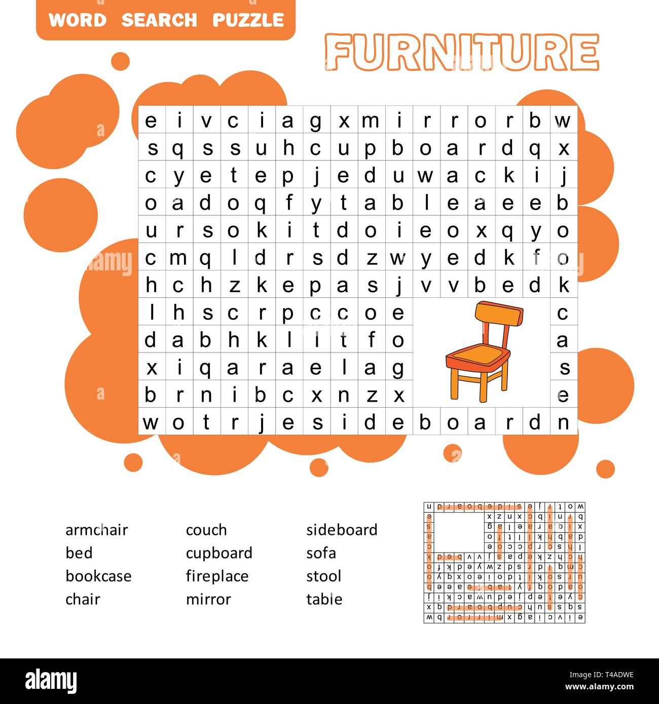 Crossword - Living room furniture - learning English words ...