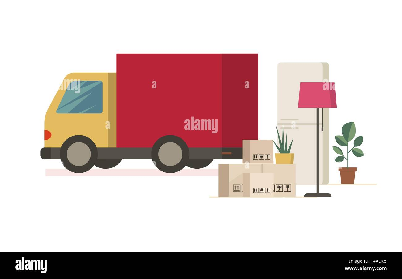 Moving truck and moving boxes outdoors. Flat removal concept. Vector delivery car illustration. - Stock Image