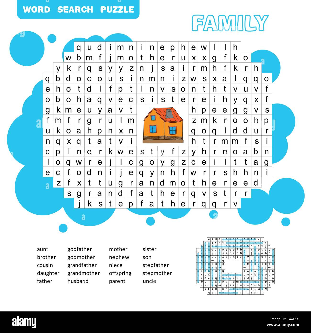 Puzzle and coloring activity page - word search puzzle - English. Family friendly. Answer included - Stock Vector
