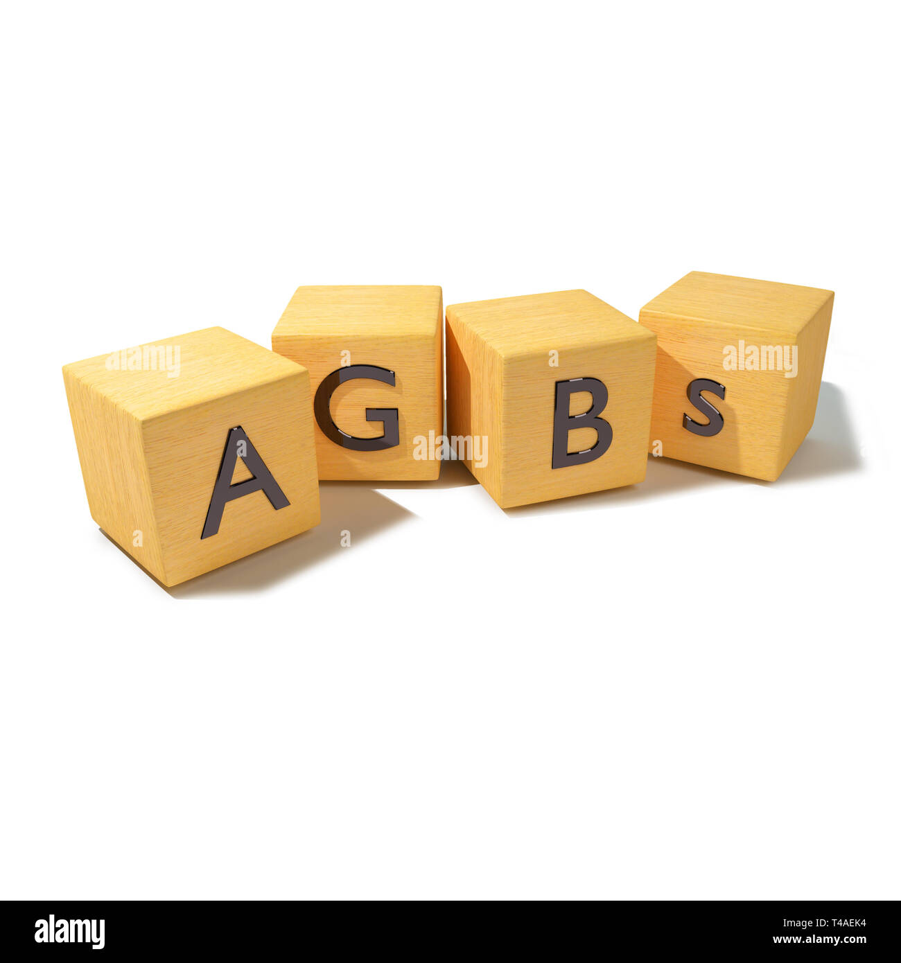 Wood cubes with policies and terms and conditions - Stock Image