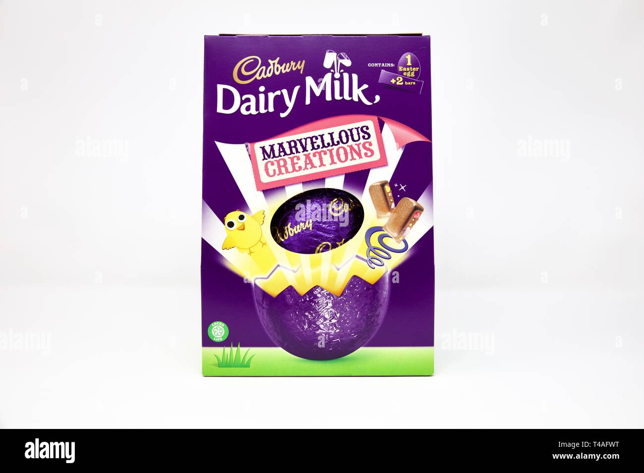 Cadbury Dairy Milk Marvellous Creations Chocolate Easter Egg on a white background - Stock Image