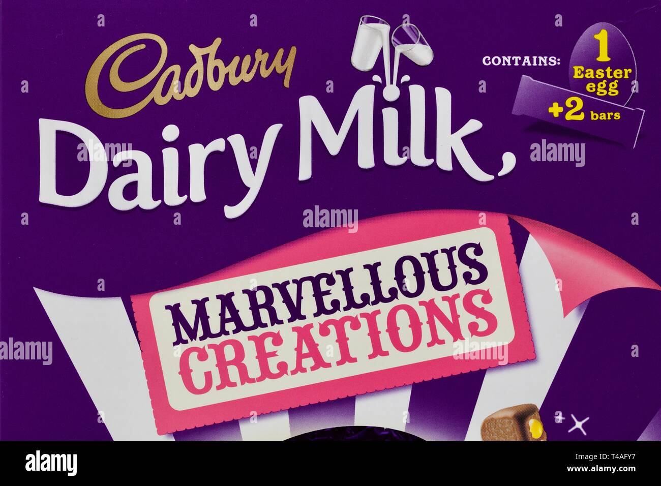 Cadbury Dairy Milk Marvellous Creations Chocolate Easter Egg Packaging - Stock Image
