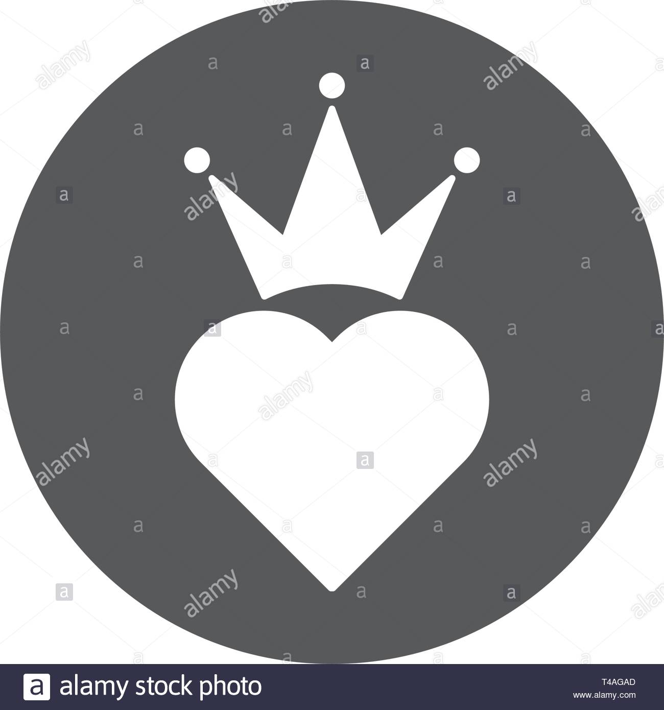Heart crown vector icon trendy flat style design isolated - Stock Image