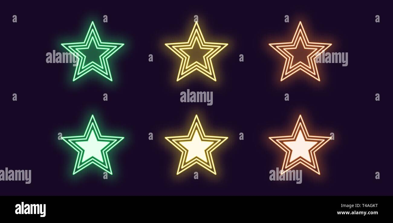 Neon icon set of glowing Star. Vector illustration of glowing Neon star in outline style. Isolated digital collection of icon, sign and symbol for Ent - Stock Image