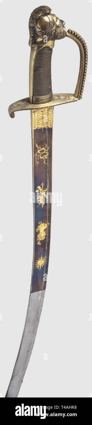 A French hussar officer's sabre, late 18th century. Heavy blade with fullers on both sides and etched, fire-gilt decoration against a blued background. A depiction of a hussar and the motto 'Vivat Husar' on one side, and the inscription, 'Klingenthal' on the back of the blade. Contoured brass knuckle-bow hilt, retouched in the past. Grip with copper wire winding, the pommel shaped as the head of the war god, Mars. Length 104.5 cm. Cf. Lhoste/Resek, Les sabres portés par l'armée fran‡aise, p. 240. illustration 424, historic, historical, thrusting,, Additional-Rights-Clearance-Info-Not-Available - Stock Image