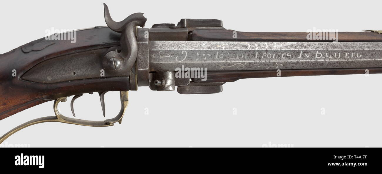 Civil long arms, flintlock and caplock, caplock turned rifle, Joseph Prolich in Bamberg, circa 1780, Additional-Rights-Clearance-Info-Not-Available - Stock Image