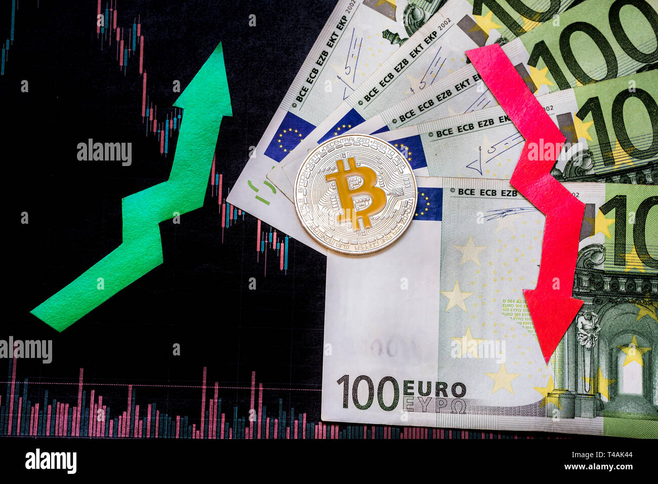 unprofitable investment of depreciation of virtual money bitcoin. Red and green arrow, silver bitcoin and euro go down on paper forex chart index back - Stock Image