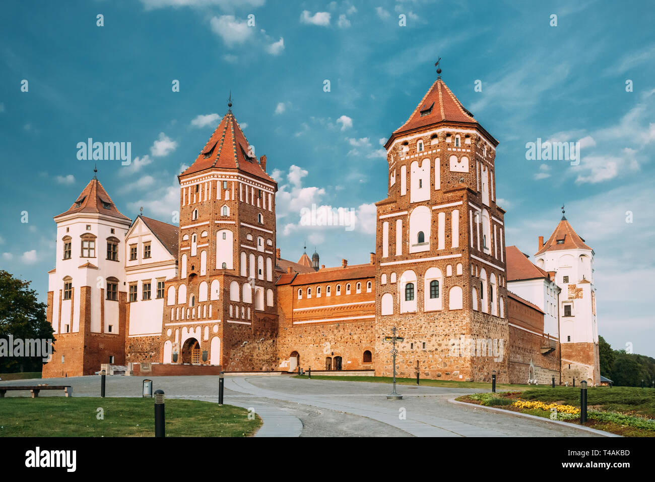 Mir, Belarus. Mir Castle Complex. Architectural Ensemble Of Feudalism, Cultural Monument, UNESCO Heritage. Famous Landmark In Summer. - Stock Image
