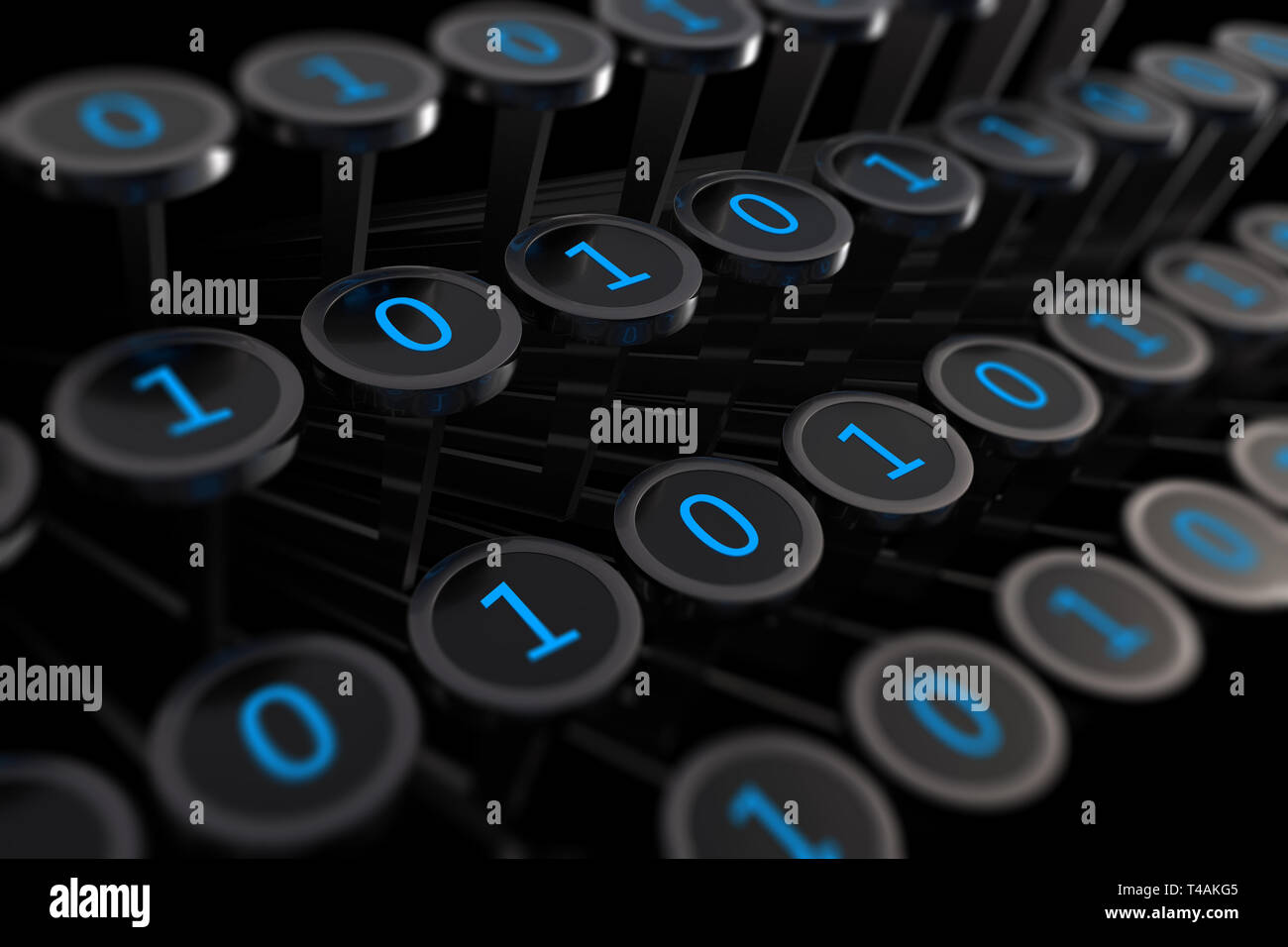 3d illustration: vintage typewriter with numbers one and zero instead of letters on the keys. Machine code. Binary language programming. Techno art - Stock Image