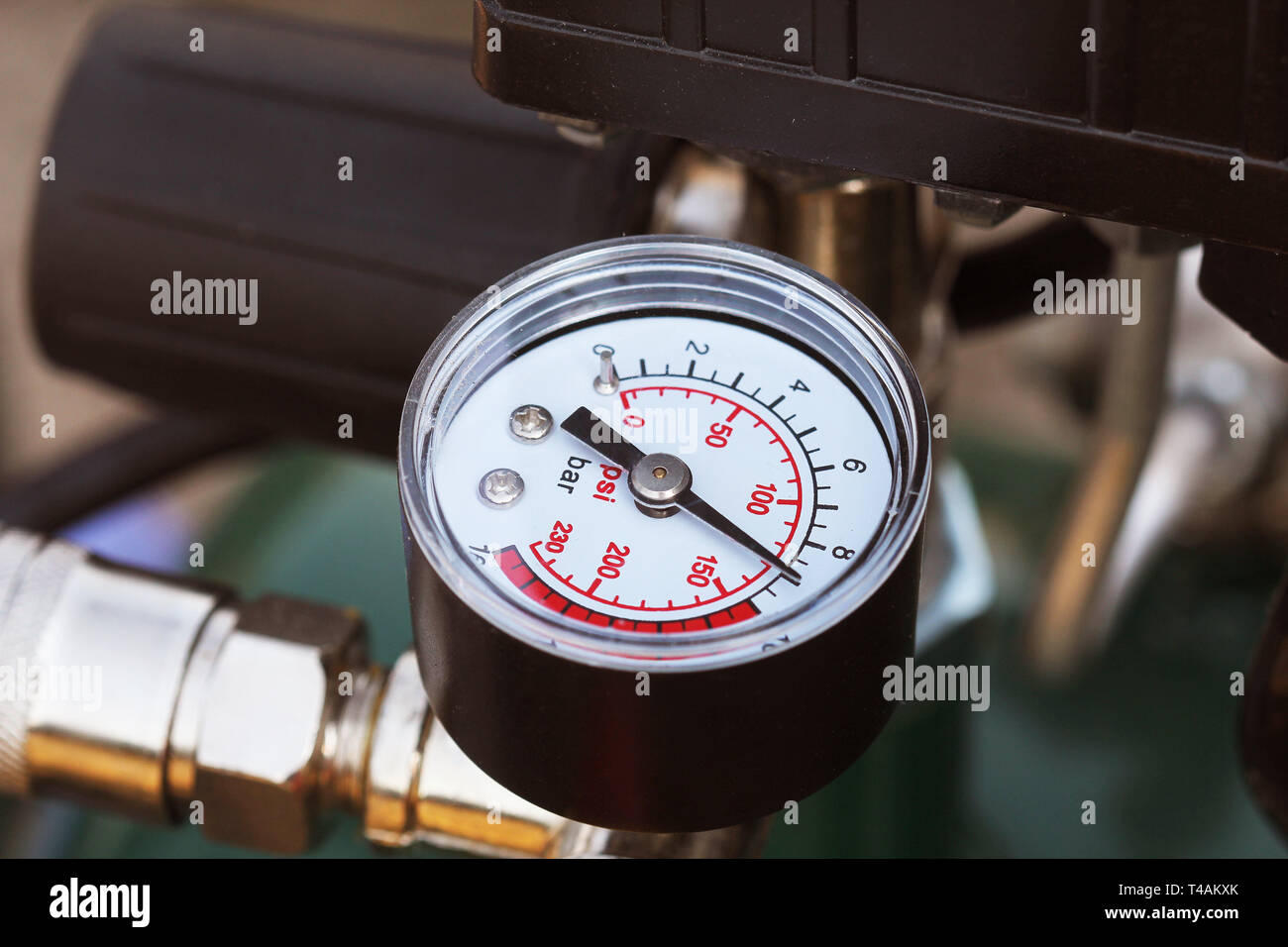 Mechanical pressure gauges. Traditional instruments for measuring pressure. - Stock Image