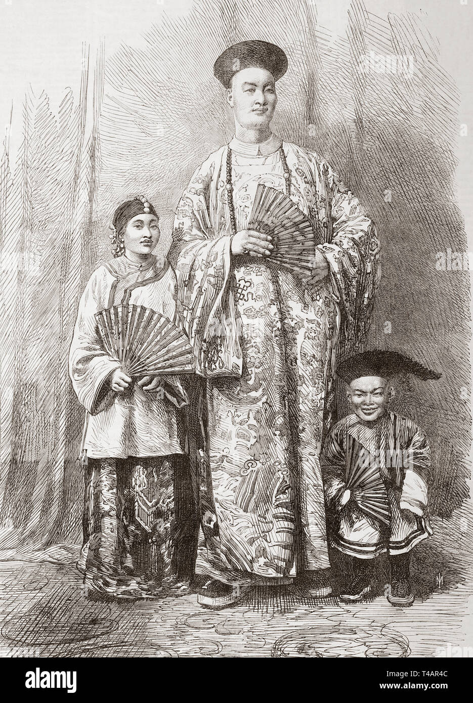 """Zhan Shichai, 1841 – 1893.  A Chinese giant who toured the world as """"Chang the Chinese Giant"""" in the 19th century, his stage name was """"Chang Woo Gow"""".   Seen here in 1865 with his wife, Kin Foo and his attendant dwarf, Chung.  Chang's height was reputed to be over 8 feet (2.44 m).  From The Illustrated London News, published 1865. Stock Photo"""