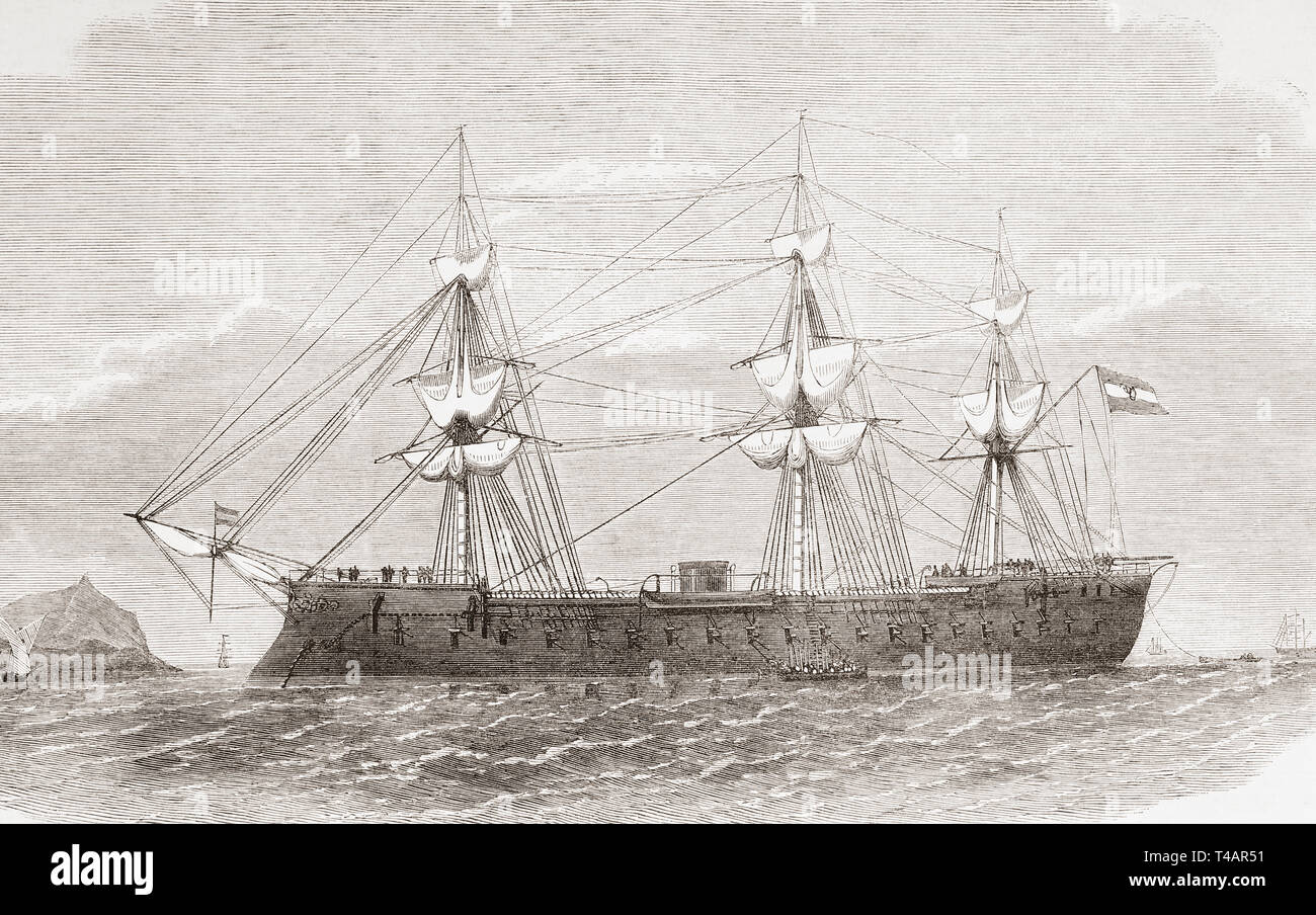 The Spanish ironclad frigate Numancia in the port of Callao, Lima, Peru in 1865. This was the first ironclad to circumnavigate the earth.    From The Illustrated London News, published 1865. - Stock Image