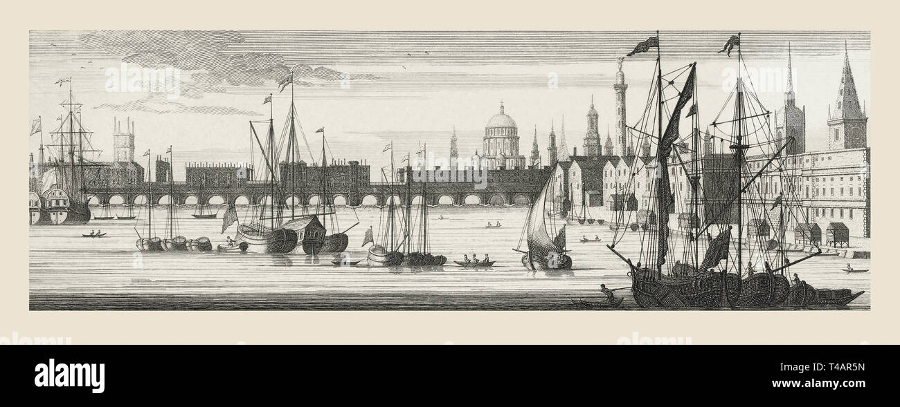 London bridge, London, England, over the River Thames in the mid-18th century.  After a contemporary print. - Stock Image
