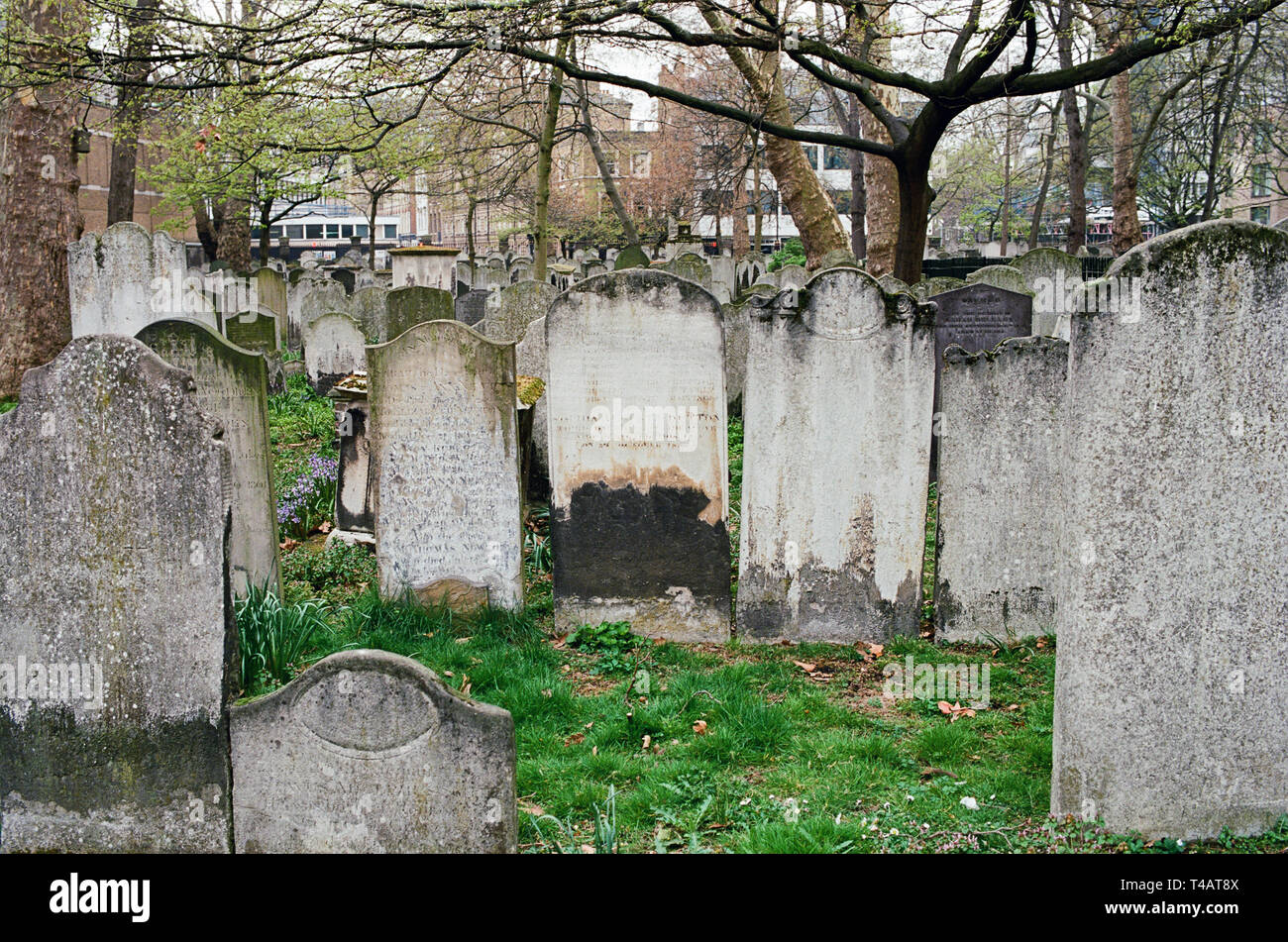 Bunhill Fields burial ground in the London Borough of Islington, London UK - Stock Image