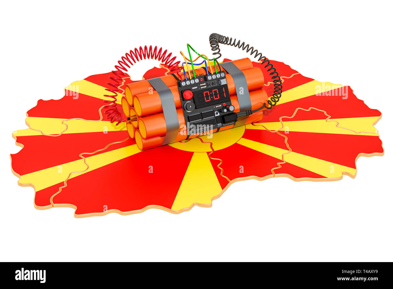 Terrorist Attacks in Macedonia concept. 3D rendering isolated on white background - Stock Image