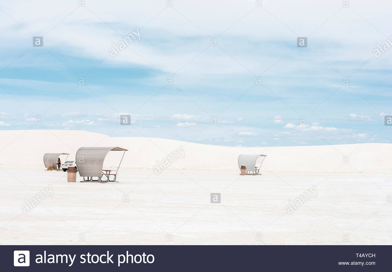 White Sands National Monument picnic area shelters, New Mexico, USA. - Stock Image