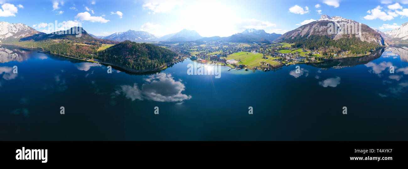 Altaussee, Loser and lake Altausseer See in the Salzkammergut in Austria. - Stock Image