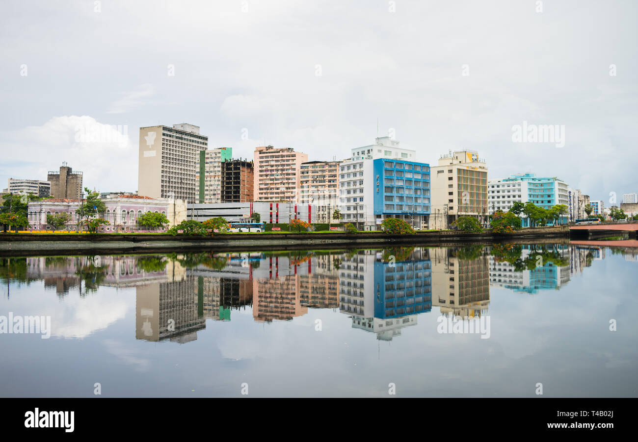 Recife, Brazil - Circa April 2019: A view of the historic neighborhood Santo Antonio reflecting on the waters of the Capibaribe river - Stock Image